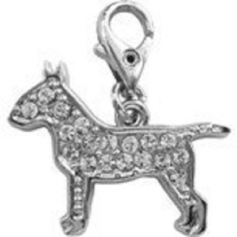 ENGLISH BULL TERRIER CLEAR CRYSTAL CHARM FOR BAGS PHONES JEWELLERY ETC